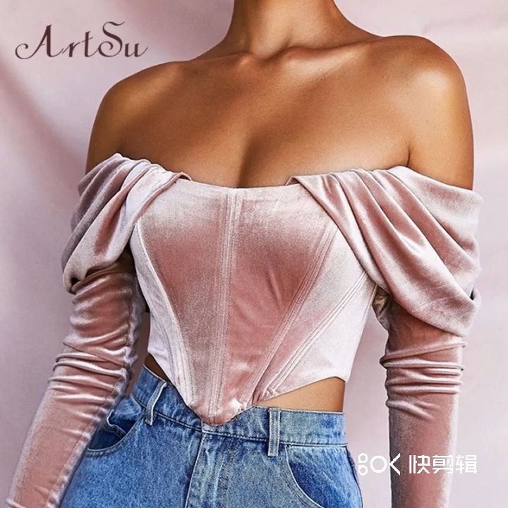 Off Shoulder Tops Cropped Bustier ASBL60570