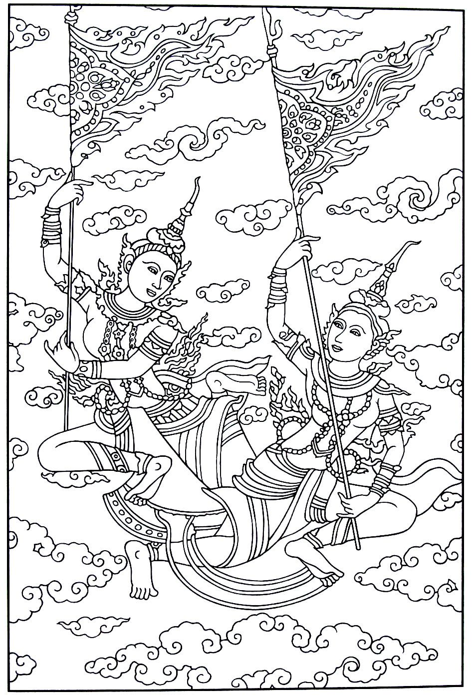 Detail Of A Painting Of Phra Malai India And Thailand Culture Coloring Book Pages Designs Coloring Books Coloring Book Pages Coloring Books