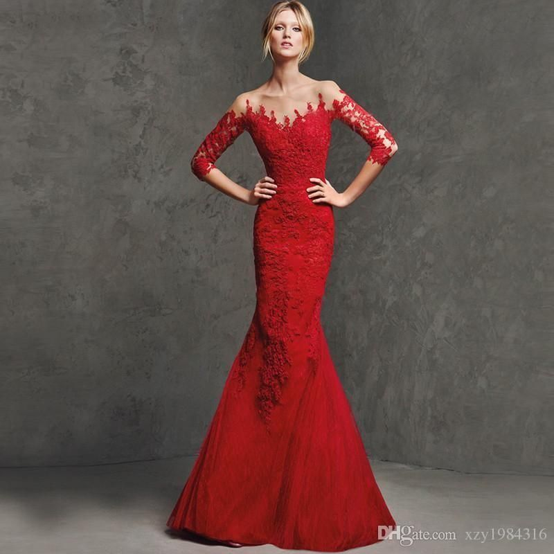 Red Lace Evening Gowns Sleeves Low-cut Ruched Plus Size Crystals ...