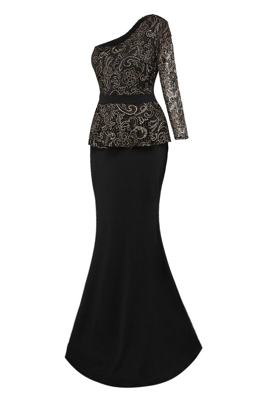 Black One Shoulder Gold Floral Lace Peplum Top Long Skirt Formal ...