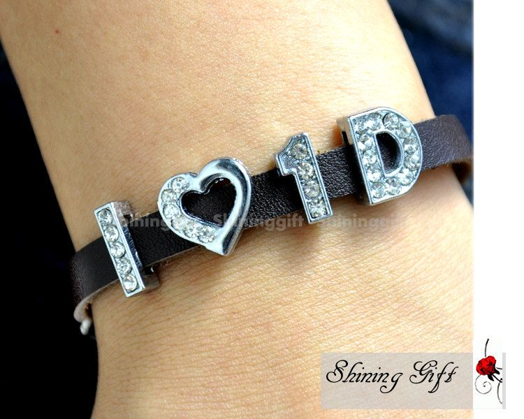 """One Direction Bracelet, One Direction """"Directioner"""" Infinity Bracelet, Real Leather Bracelet, """"I love 1D"""" Bracelet. $4.99, via Etsy."""