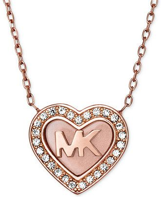 eb469528d Michael Kors Rose Gold-Tone Pavé Logo Heart Pendant Necklace - All Fashion  Jewelry - Jewelry & Watches - Macy's