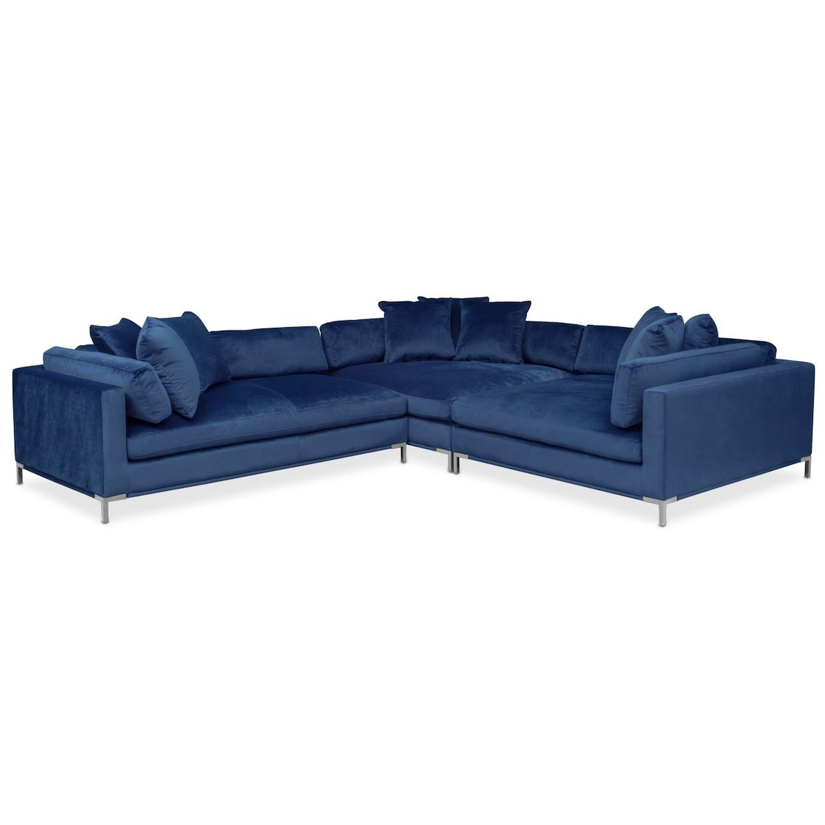 Moda 3 Piece Sectional With Chaise Value City Furniture And Mattresses White Furniture Living Room Furniture Sectional