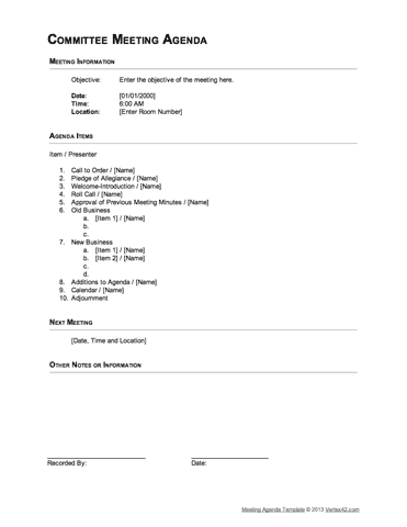 Download The Committee Meeting Agenda  Outline Format From