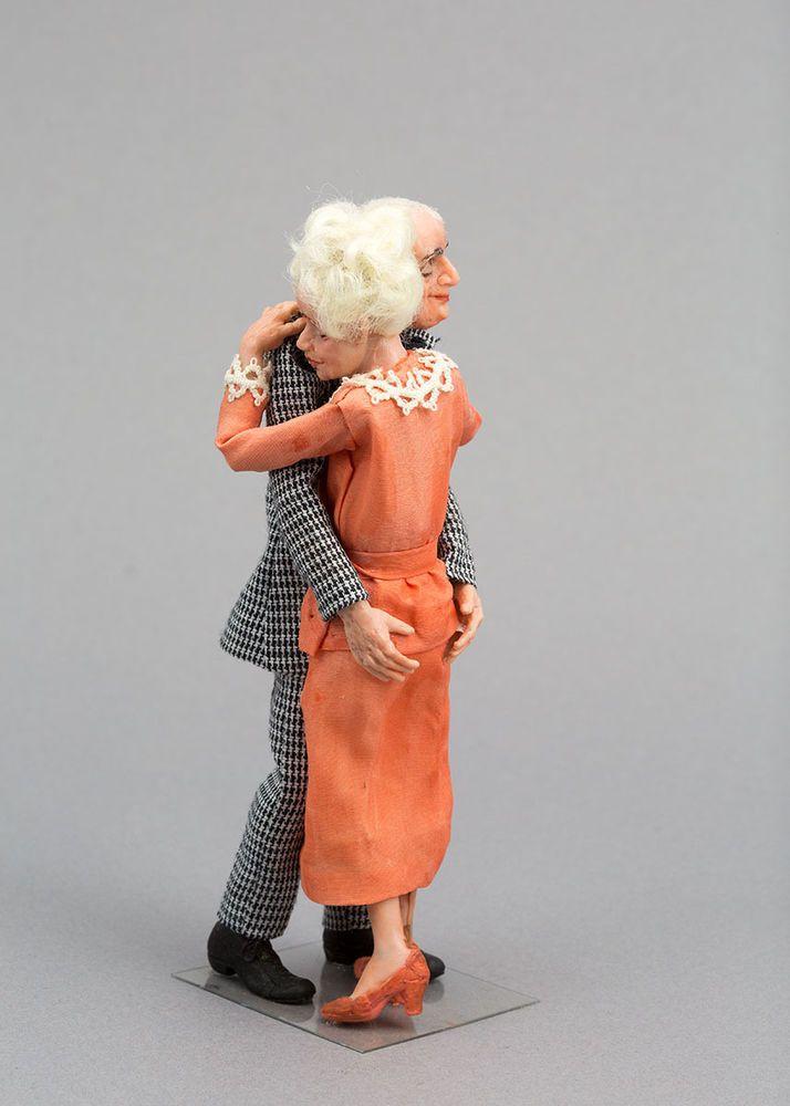 """Save the Last Dance"" Elderly Couple, IGMA Fellow Ellen Poitras, 1:12 Scale OOAK"