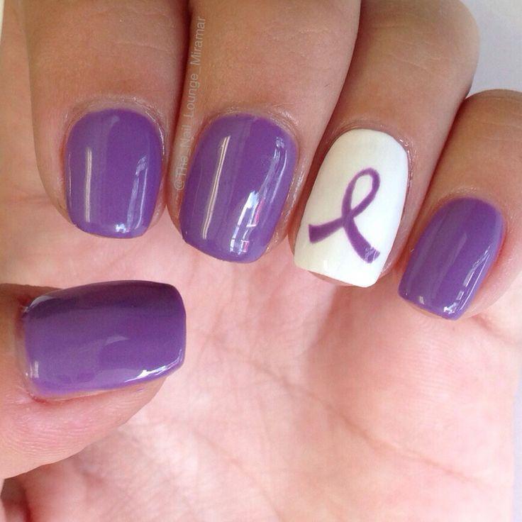Fibromyalgia Awareness Nail Art Purple Nail Designs Cancer Nails Purple Nail Art