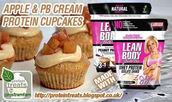 Apple & Peanut Butter Cream Protein Cupcakes Recipe with Jamie Eason Protein #proteincupcakes