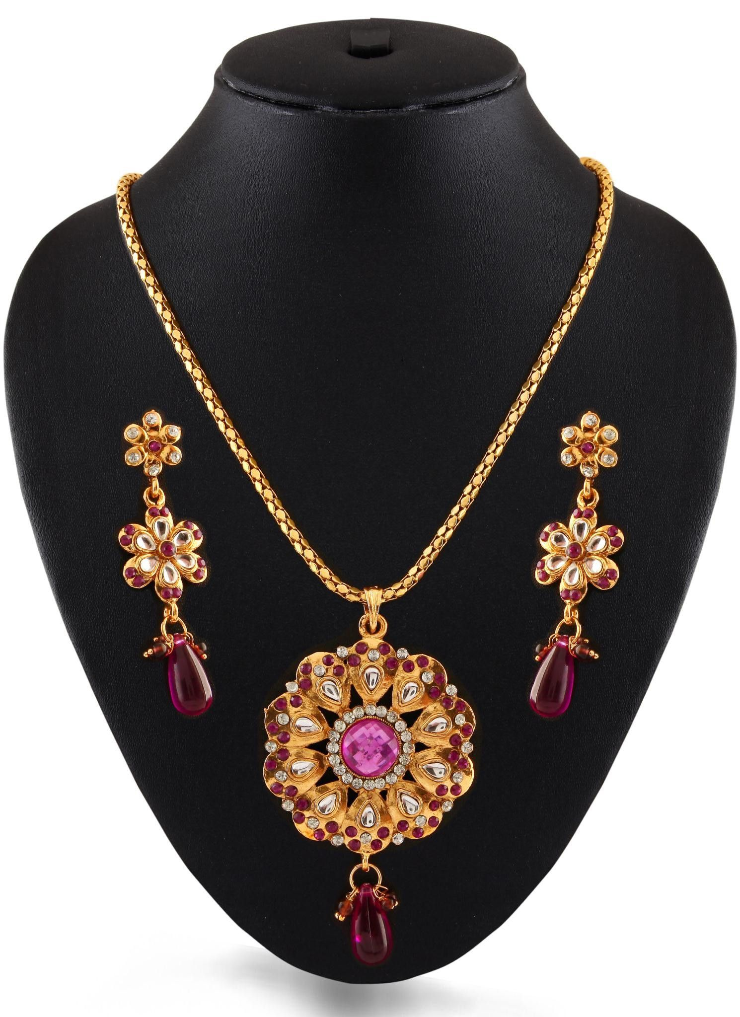 Purple gold plated austrian diamond pendant set best purple gold