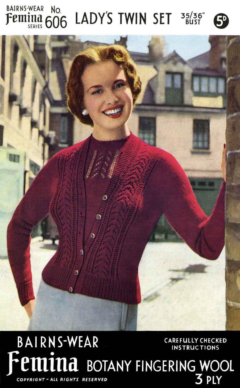62ca09dc75f Vintage Ladies Twin Set (Cardigan and Jumper) Knitting Pattern, 1950 ...