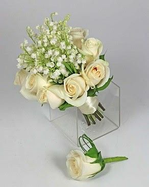 Wedding Posy Featuring: White Roses, White Lily Of The Valley