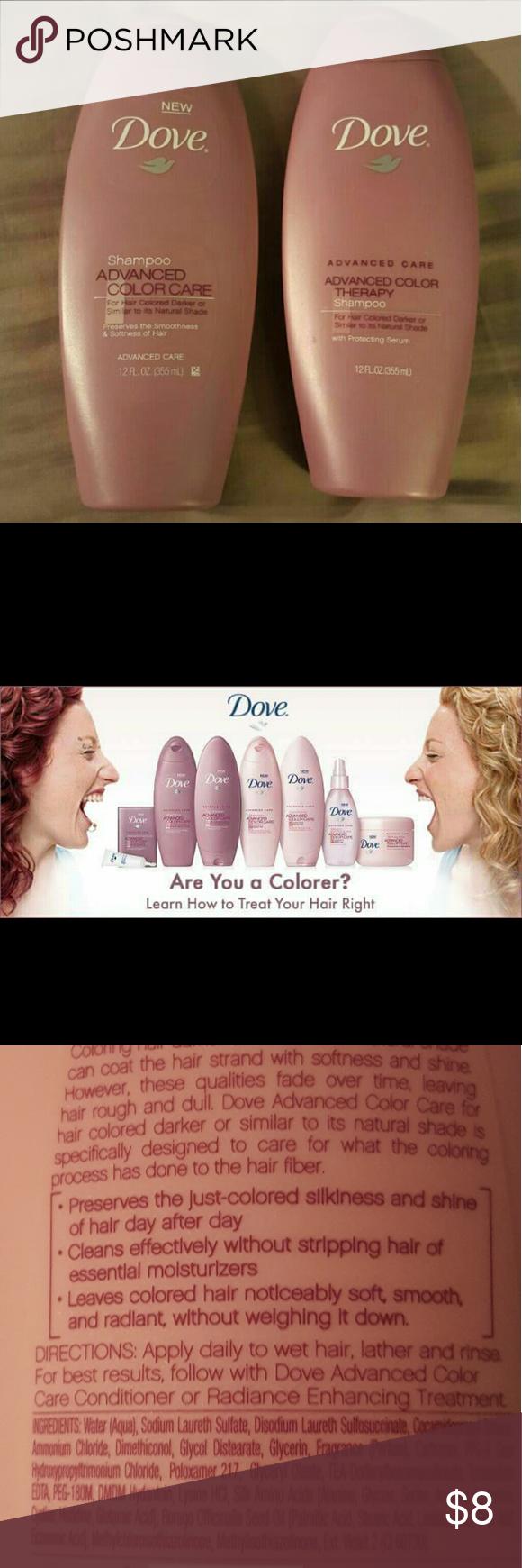 2 NEW Dove advanced color care therapy shampoo NWT Color