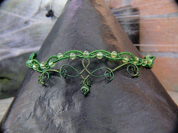 Elegante Girocollo verde  Elegant green Choker. Elfo Fata