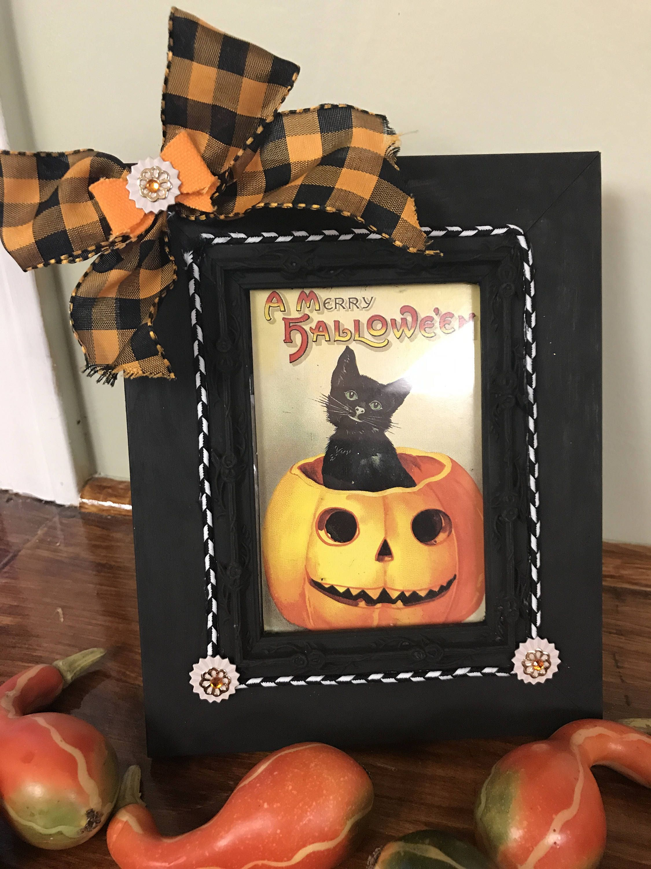 Halloween Decoration Vintage Halloween Picture Frame Handmade - Primitive Halloween Decor
