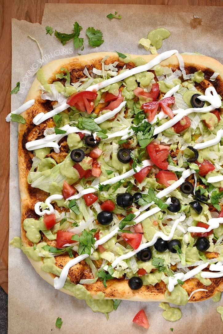 Chicken enchilada pizza surviving cooking with curls