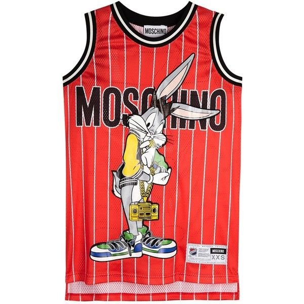 Womens Printed Dresses Moschino Bugs Bunny Printed Jersey Dress (£625) ❤ liked on Polyvore featuring dresses, red striped dress, stripe jersey dress, jersey dress, stripe dress and applique dress