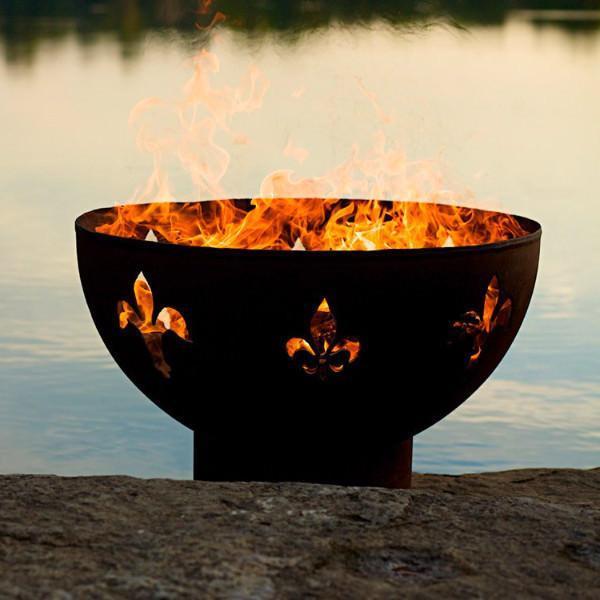 """Fire Pit Art Fleur de Lis - 36"""" Handcrafted Carbon Steel Fire Pit (FDL)"""