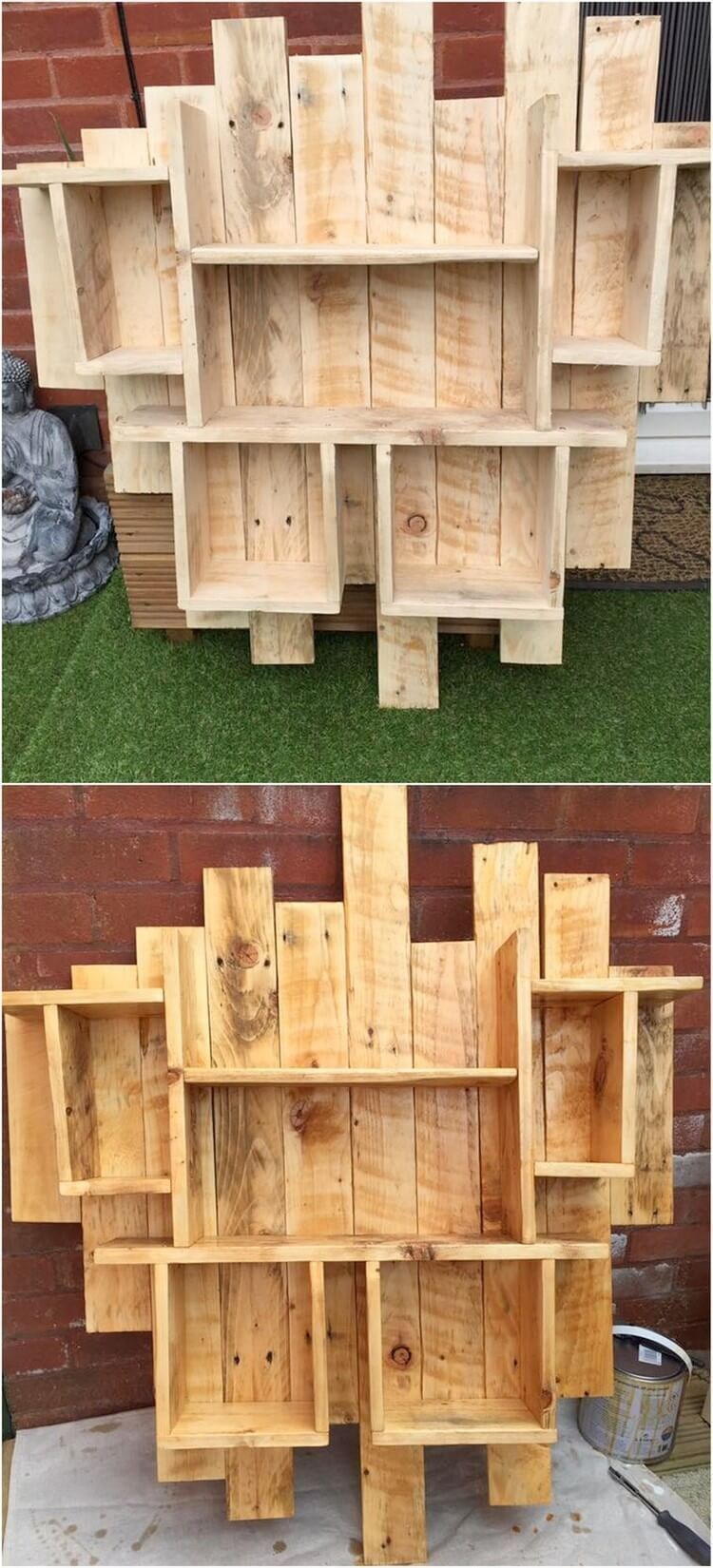 Creative Wood Pallet Projects That Everyone Can Afford Wood Pallet Projects Are Afford Creat In 2020 Pallet Wood Shelves Wooden Pallet Projects Pallet Shelves Diy