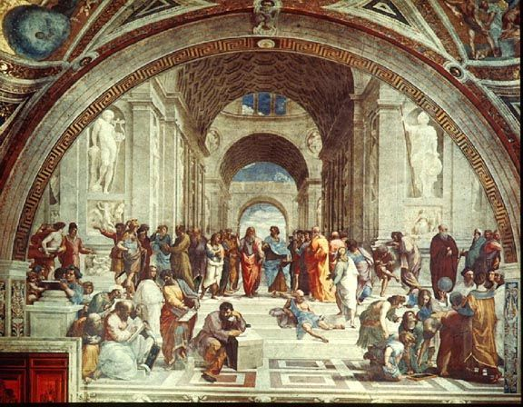 Italian Renaissance Oil Painting The School Of Athens Or Scuola Di Atene In