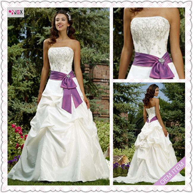 white and purple wedding dress about 2013 chinese custom luxury white purple applique wedding dresses