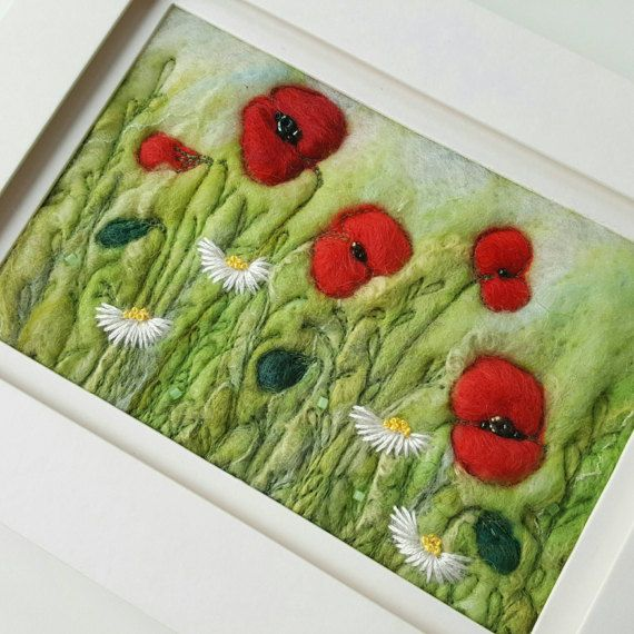 Check Out This Item In My Etsy Shop Https Www Etsy Com Uk Listing 386081710 Poppies Daisies Needle Felted And Ha Needle Felting Felt Pictures Felt Embroidery