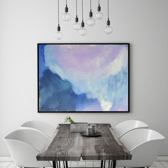Large Modern Abstract Blue Purple Navy Wall Art Painting Bedroom Decor Living Room Decor images