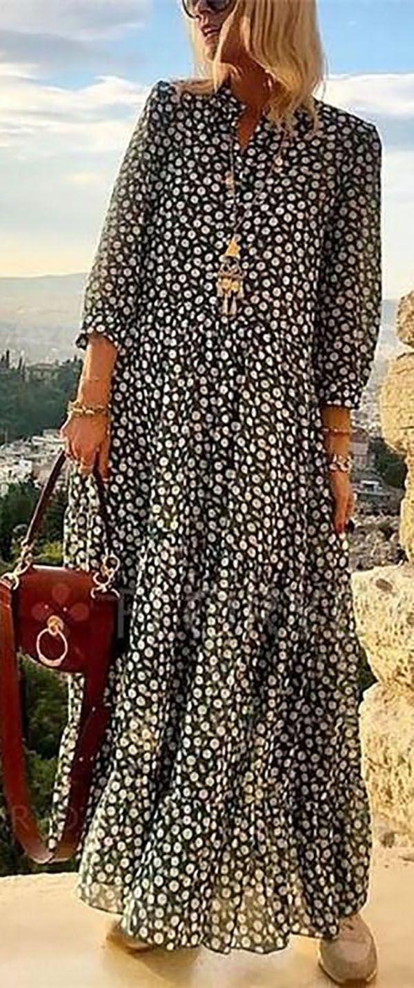 Photo of Big Sale!V Neck 3/4 Sleeve Polka Dots Maxi Dress