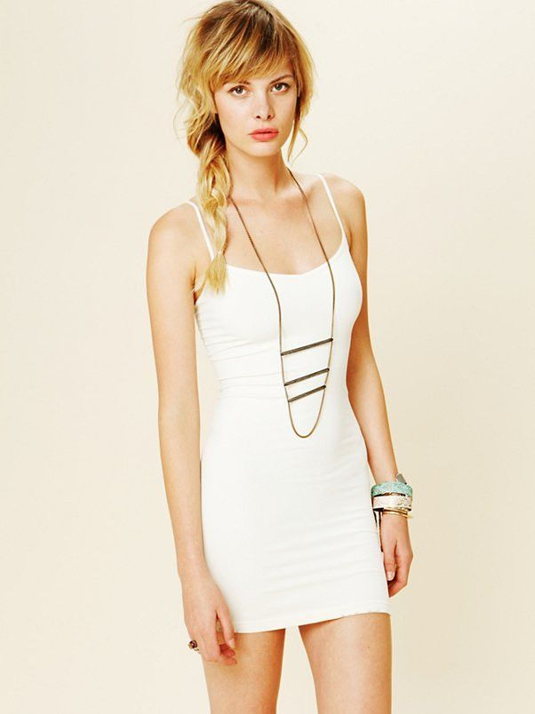 Intimately Free People Seamless Mini Slip Dress in Ivory, Size M/L