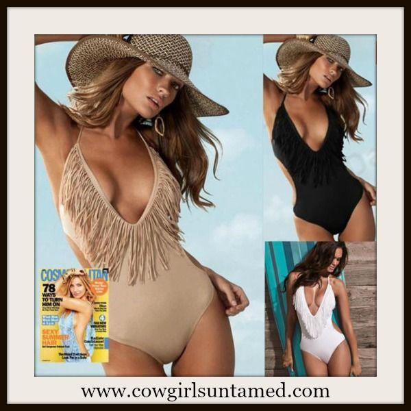 d5da4813d40e0 COWGIRL STYLE SWIMSUIT One Piece V Neck Monokini Fringe Western Bathing Suit  #fringe #fringebikini #fringemonokini #fringeswimsuit #bathingsuit #swimwear  ...