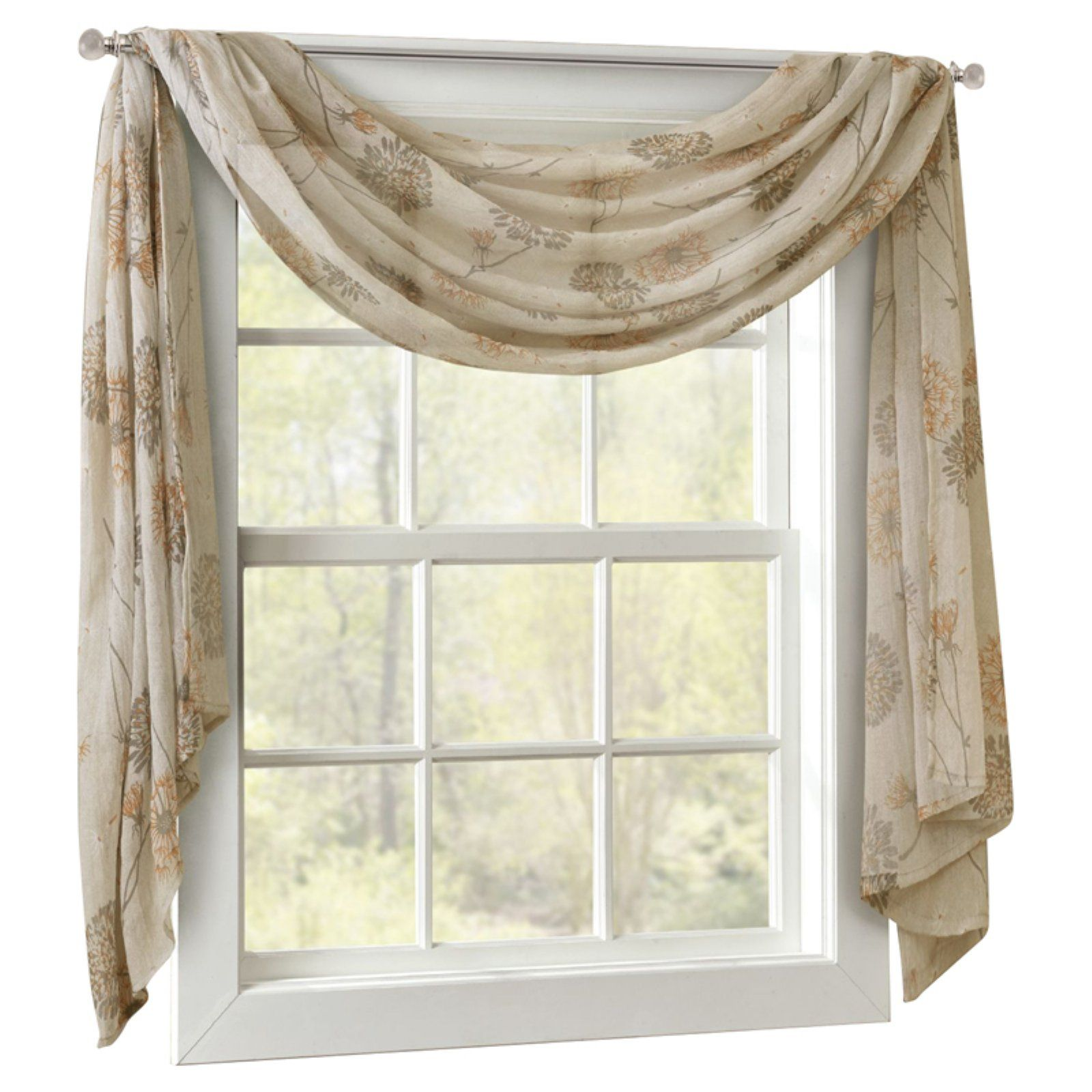 Madison Park Arella Crushed Sheer Window Scarf Taupe Window