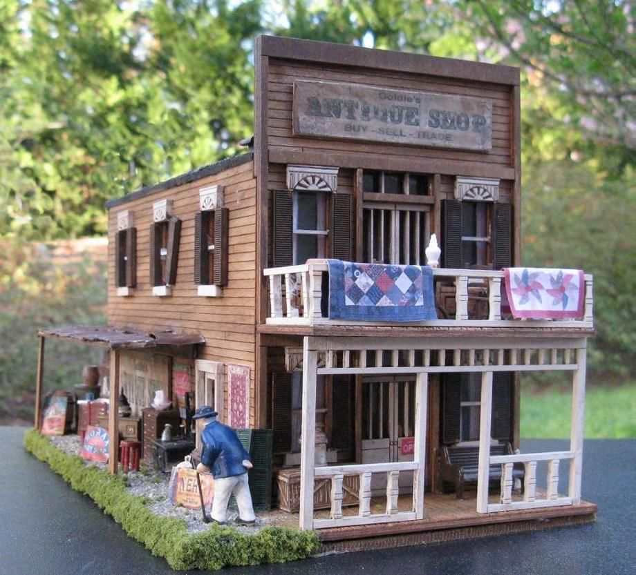 Miniature Antique Shop 1 48 Scale Diorama Model Train Buildings