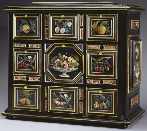 """1680 Italian (Florence) Table cabinet at the Royal Collection, UK - From the curators' comments: """"The pietra dura panels - nine on the front carved in medium and high relief with fruit, four on the sides and top, inlaid with birds and fruit - are characteristic of Florentine work of the last quarter of the seventeenth century and the cabinet itself, which is little more than a vehicle for the display of the panels, was probably constructed at about the same date.!"""