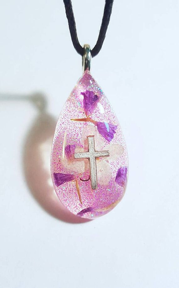 Cross Charm Real White Purple Flowers Glitter Nature Necklace Resin Pendant Earth Bohemian Jewelry  at https://www.etsy.com/listing/270459965/silver-cross-real-purple-white-flowers