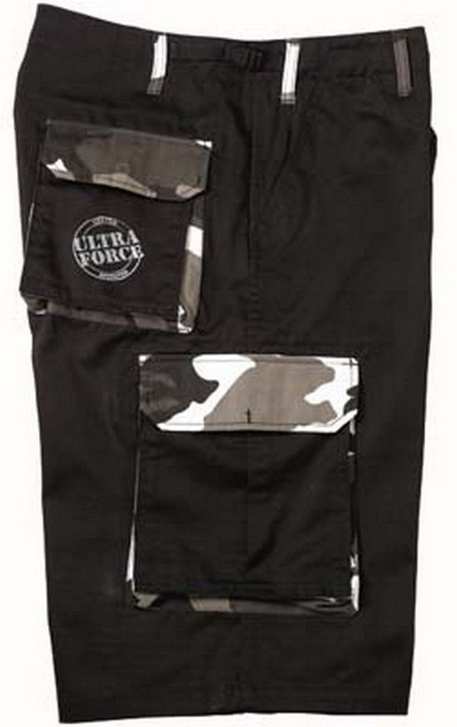 fatigue shorts xtra long black/camo shorts  these solid color fatigue shorts are accented with camouflage trim and our ultra force logo on the right rear pocket, poly/cotton twill, 13.5 in. inseams, relaxed fits, wider, longer legs, zipper fly, 6 pockets, adjustable waist tabs.   http://www.armynavyshop.com/prods/rc7795.html #Shorts #CityCamo #ArmyNavyShop #springisnear