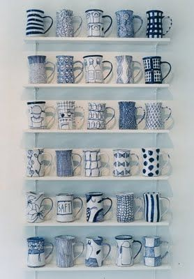 blue and white mugs collection