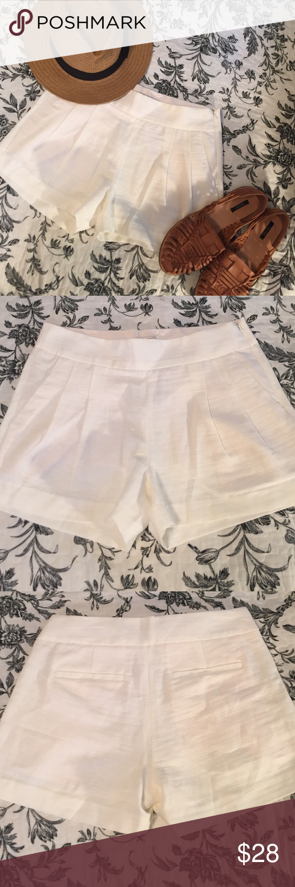 J. Crew Linen Blend Shorts These are the perfect summer shorts. Light and bright linen blend with side zip closure, front and back pockets and fun pleat accents on the front panel. Size 0 but fits more like a sz 2. Brand new with tags, perfect condition. J. Crew Shorts Skorts