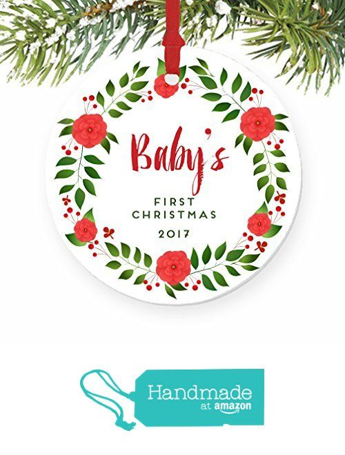 baby s first christmas ornament 2017 red blooms floral wreath