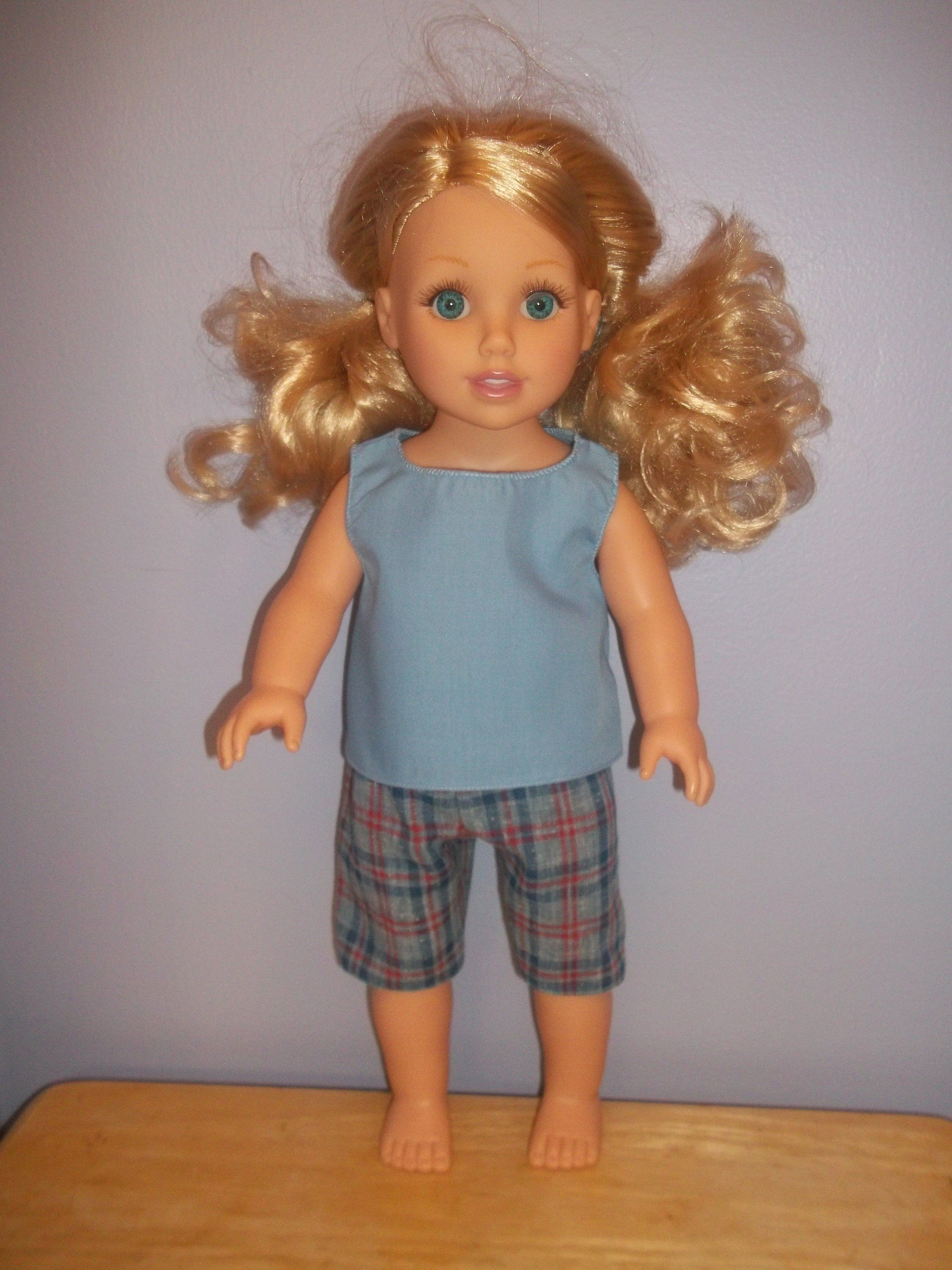 American 18 Inch Doll Clothes top and shorts light blue top and blue red plaid shorts #18inchdollsandclothes