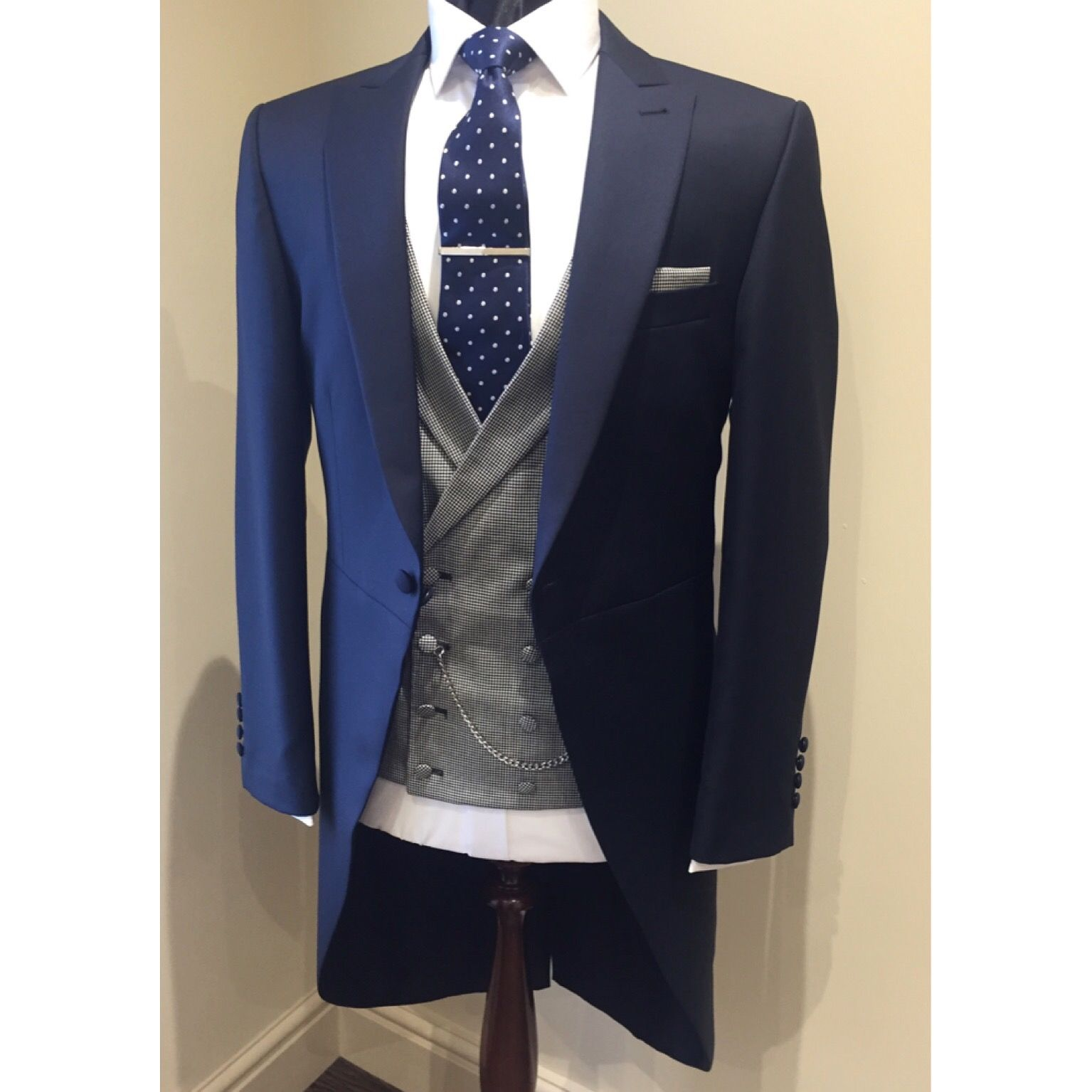 Navy Morning Suit With Dogtooth Double Breasted Waistcoat And Navy Spot Tie Groom Wedding Suit Navy Suit Wedding Wedding Morning Suits Formal Wedding Suit