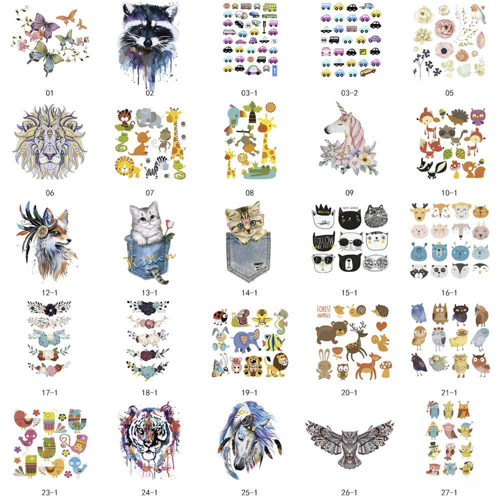 Cartoon Patches T-shirt Press Heat Transfer Sticker Washable Iron On Appliques