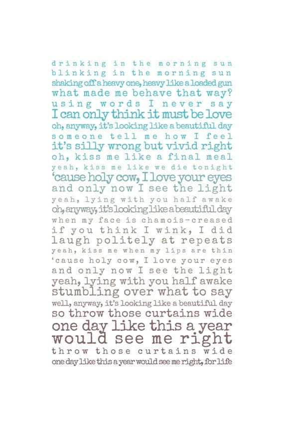 One Day Like This Print, song lyrics print, Gift for husband, Gift for wife, song lyrics first dance #excelwordaccessetc