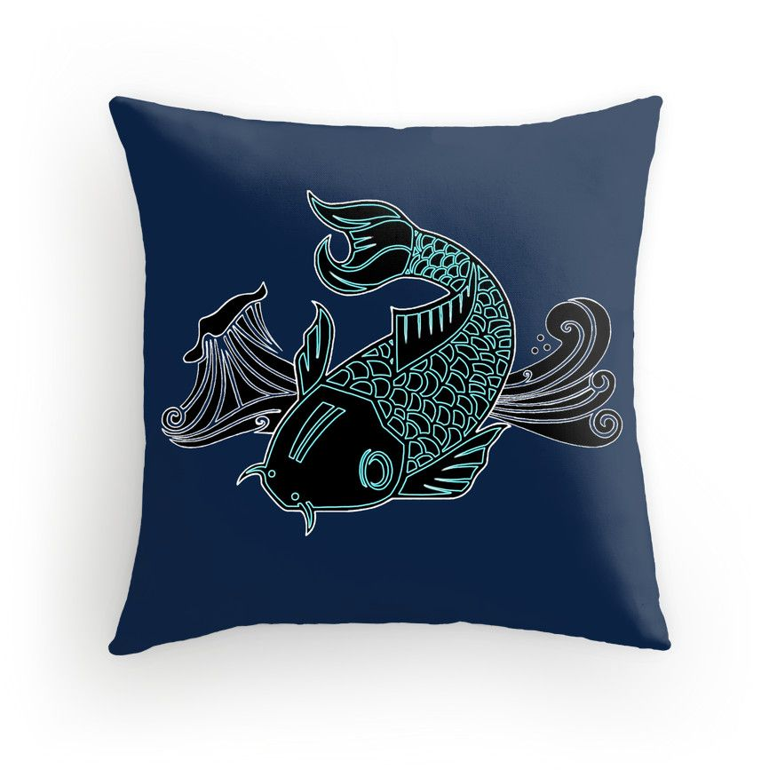 Throw pillow nautical deocr koi coy coi koy fish for Koi fish pillow