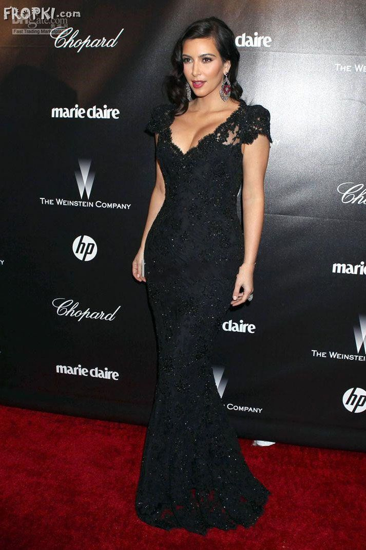 ab3d33e8ebfa Kim Kardashian Dress Golden Globes Black Sequin Lace Mermaid Evening Dress