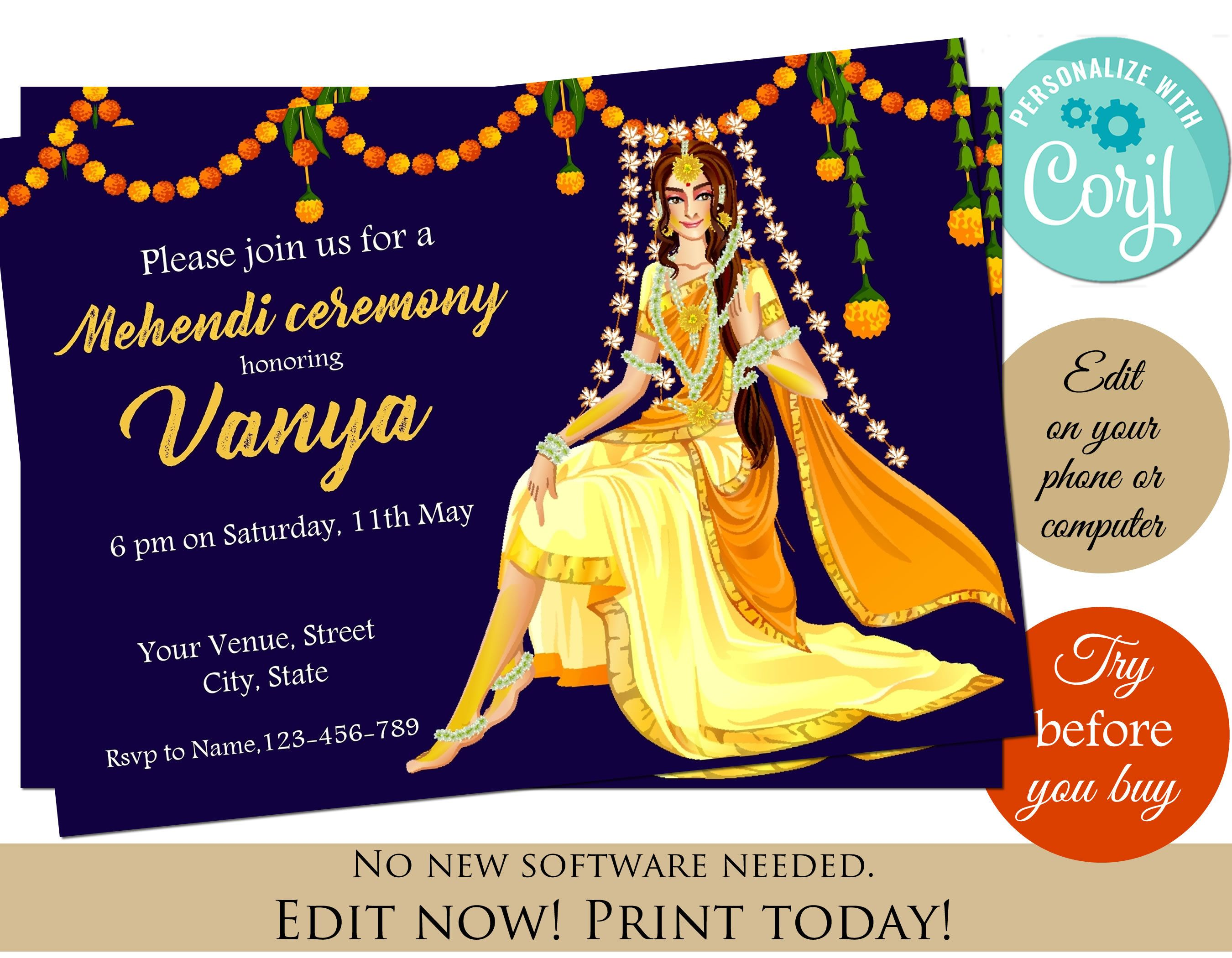 Haldi Invitation Editable Template Instant Download Haldi Gaye Etsy Indian Invitations Invitations Haldi Ceremony