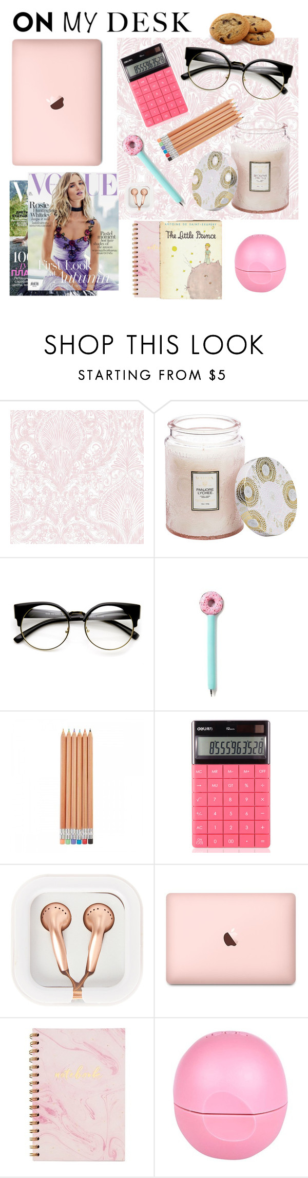 """On my desk"" by baimatovaaa ❤ liked on Polyvore featuring interior, interiors, interior design, home, home decor, interior decorating, Voluspa, ZeroUV, Whiteley and claire's"