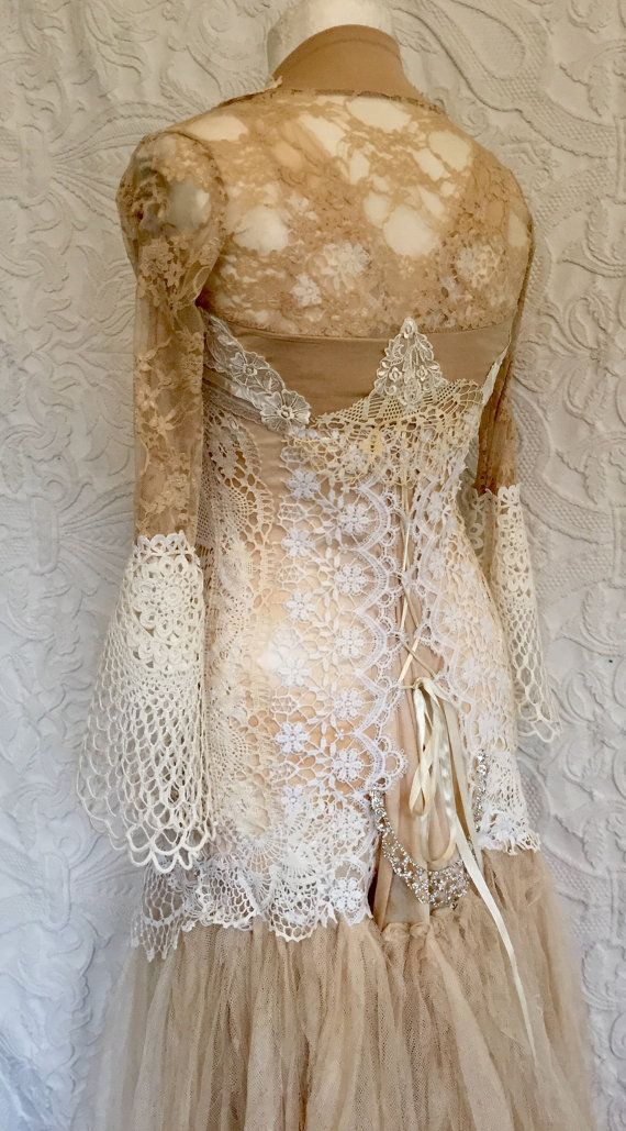 SOLD !!!!!Fairytale wedding dress,boho bridal gown,rawrags,Vintage ...