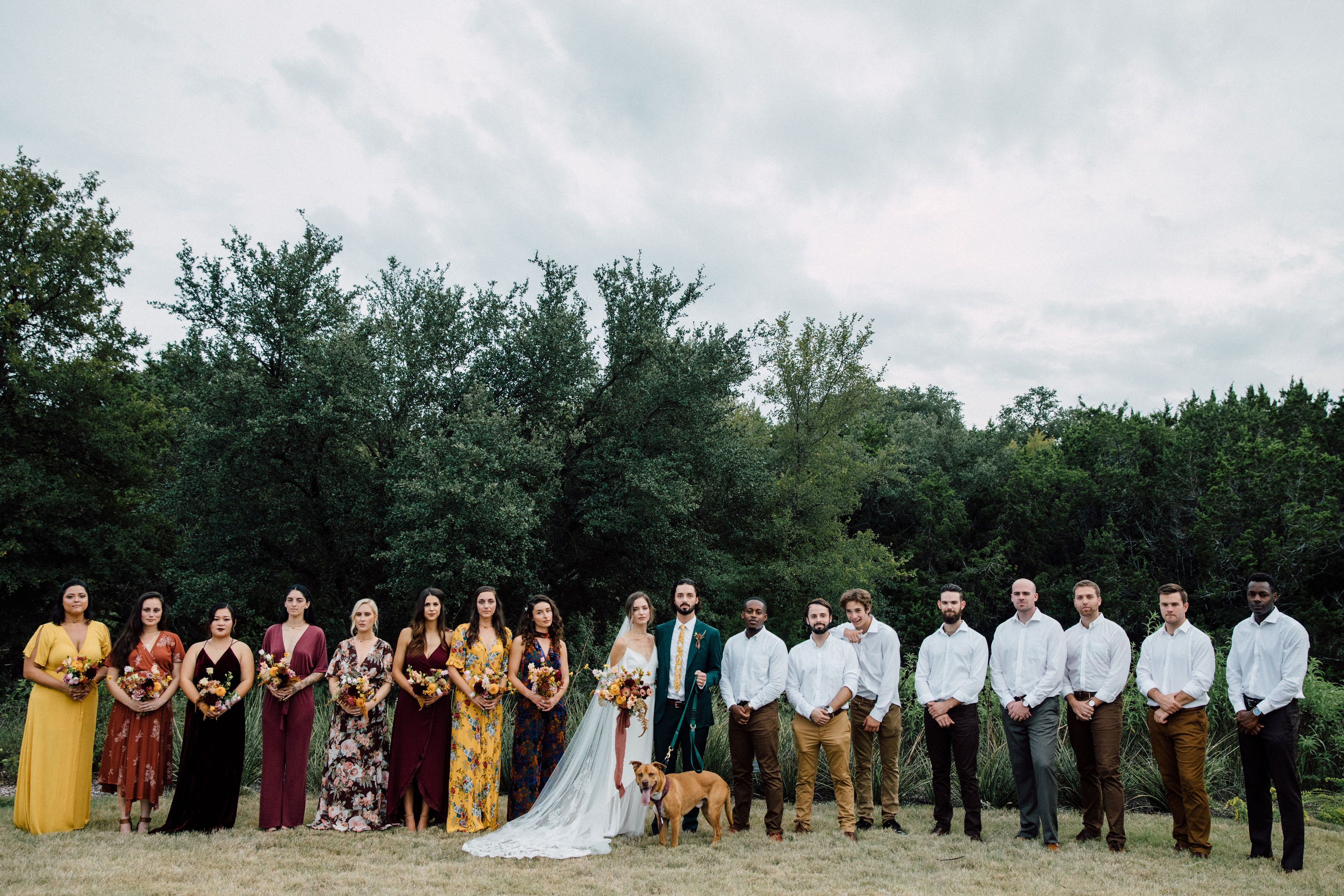 Boho Mismatched Bridal Party In 2020 Bridal Party Mismatched Bridal Party Groomsmen Boho Wedding Groomsmen