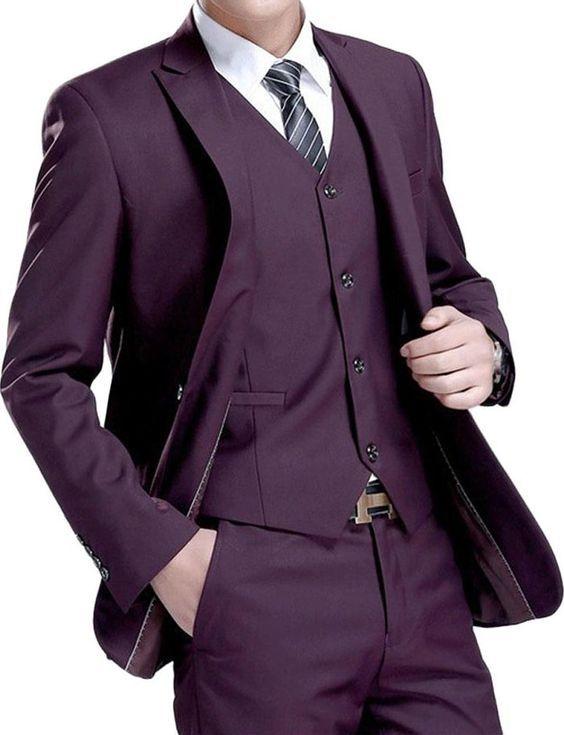 Latest Coat Pant Designs Purple Suit Men Formal Skinny Simple Tuxedo ...