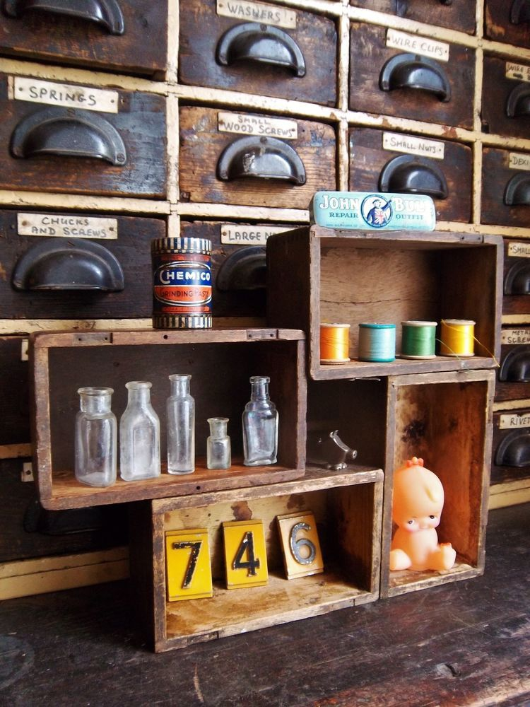 Vintage Industrial Old Pigeon Hole Shelving Boxes Crate Wall Cabinet X 4 ...