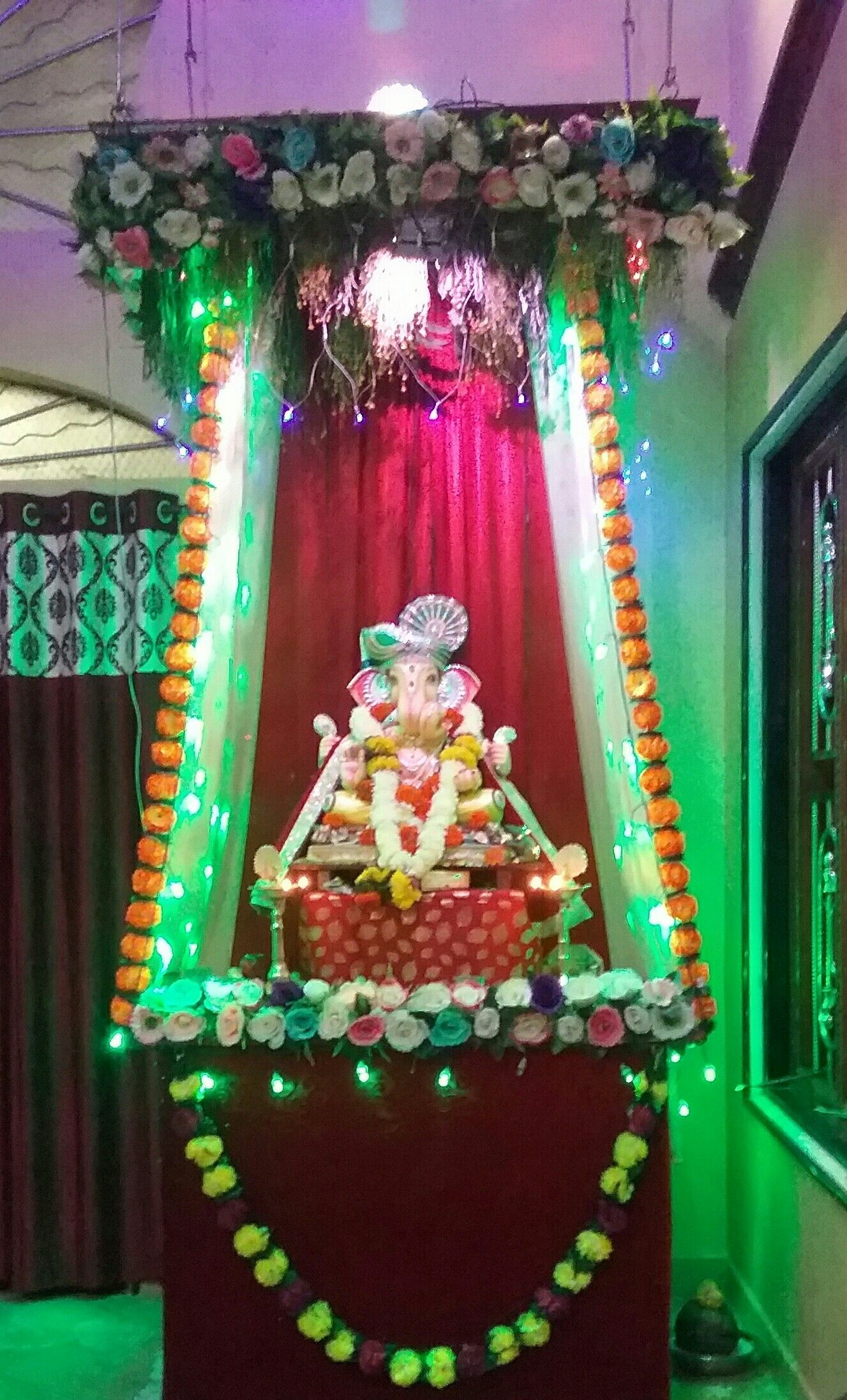 Ganesh chaturthi decoration at my home. . . . . .   Ganesh ...