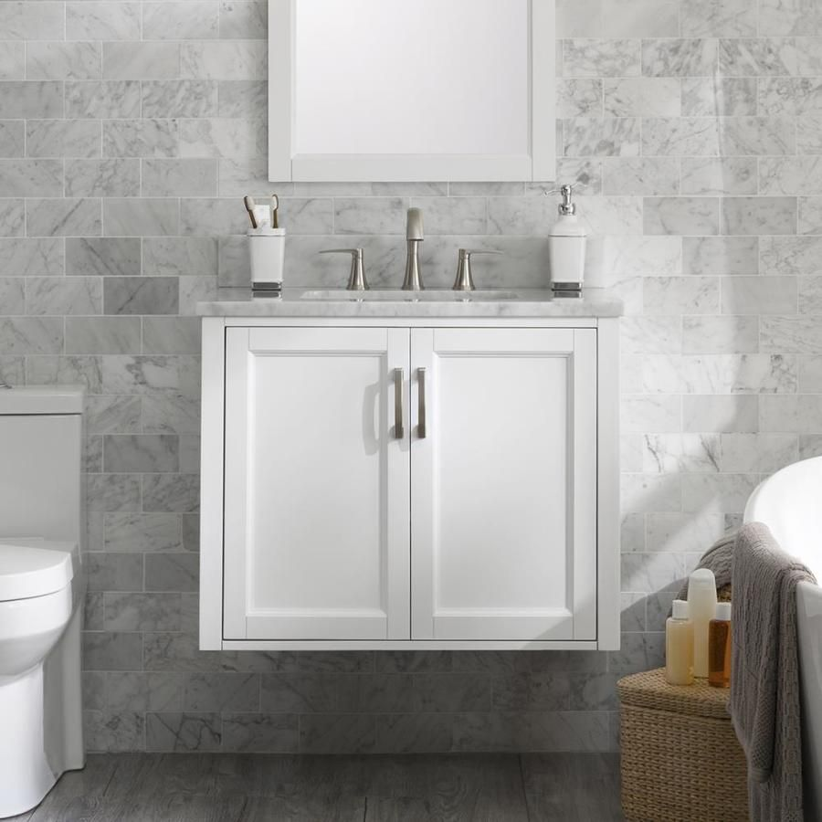 Allen Roth Floating 30 In White Single Sink Bathroom Vanity With